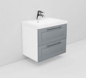 Noro Flexline möbelpaket, 60 cm, modell 10.4 - 2 lådor, grå ram