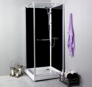Noro Ocean 90C duschkabin med svarta bakväggar, 90x90 cm