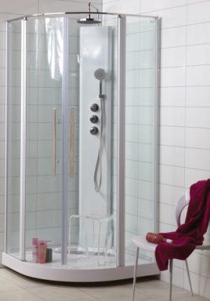 Noro Wave duschkabin 90x90 cm, aluminium