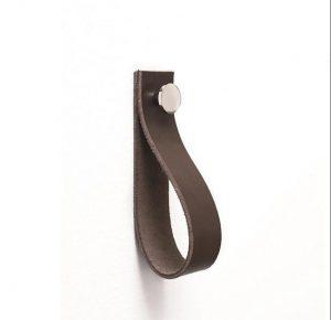 Linfalk Handdukshängare läder/metall Längd 150mm brun-nickel 0154L-3207