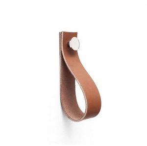 Linfalk Handdukshängare läder/metall Längd 150mm cognac-nickel 0154L-3107