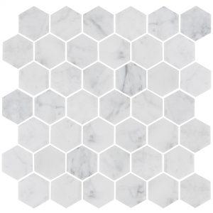 Marmor Bricmate U Hexagon Medium Carrara Honed