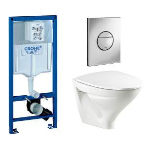 Vägghängd Toalettstol Ifö Sign 6875 med Grohe Rapid SL 113 cm