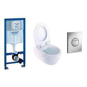 Vägghängd Toalettstol Ifö iCon Rimfree 3575 med Grohe Rapid SL 113 cm