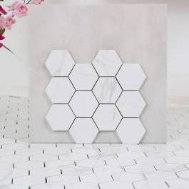 Mosaik Hexagon Carrara Gani Vit