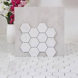 Mosaik Hexagon New Bianco Carrara Gani Vit